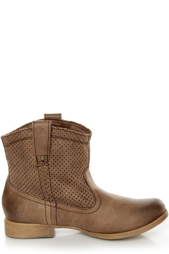 Roxy Buckeye Chocolate Brown Perforated Ankle Boots