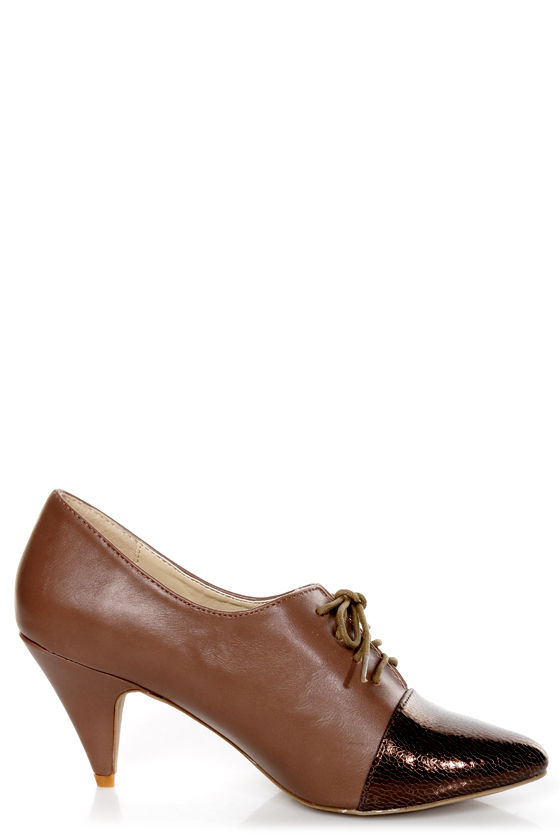 C Label Vicky 11 Taupe and Brown Lace-Up Cap-Toe Oxford Heels at Lulus.com!