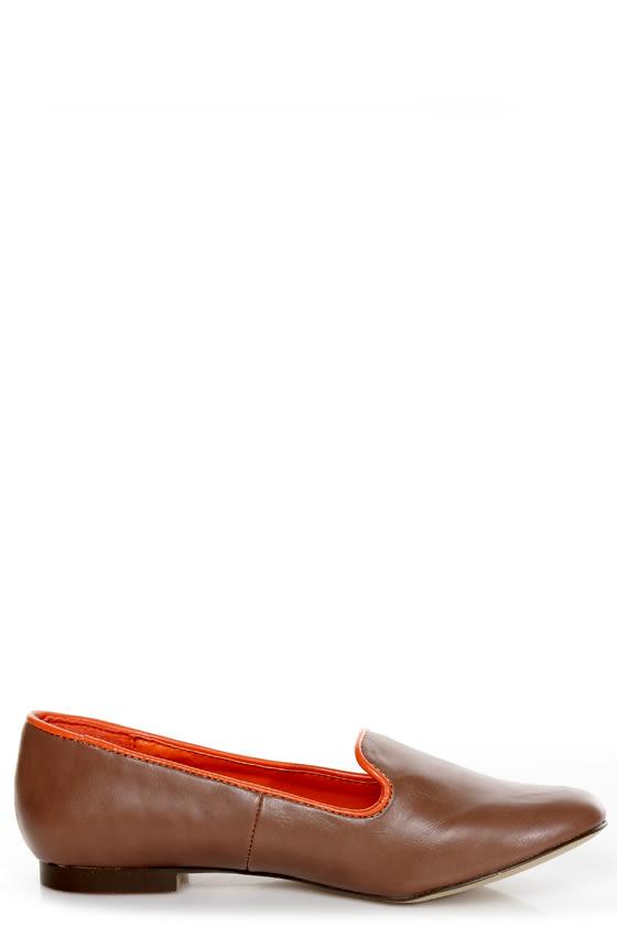 C Label Judy 2 Taupe and Orange Smoking Slipper Flats