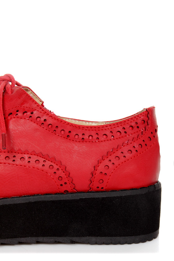 Oxia Burgundy Red Brogue Oxford Platform Creepers