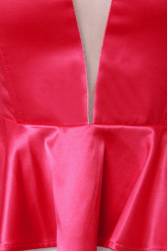 Just a Kiss Red Peplum Bustier Top at Lulus.com!