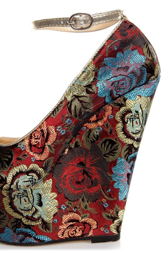 Torri Red Floral Brocade Platform Wedges