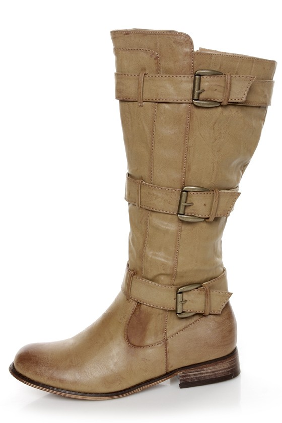Cowgirl 2 Beige Belted Riding Boots at Lulus.com!