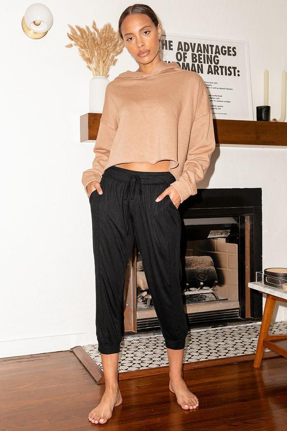 Lulus | Forever Sleepy Black Cropped Pajama Pants | Size Large