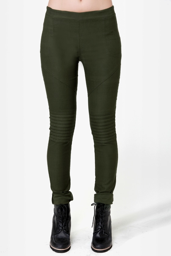 Down for Whatever Olive Green Skinny Pants
