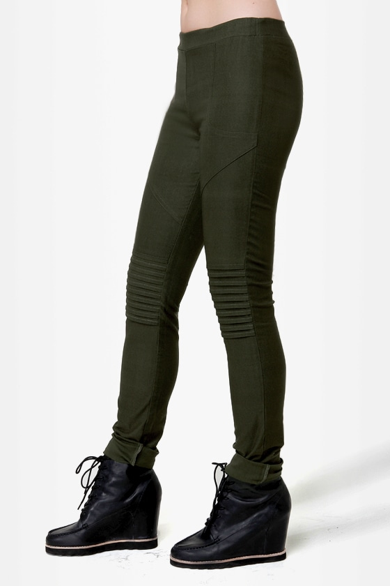 Down for Whatever Olive Green Skinny Pants at Lulus.com!
