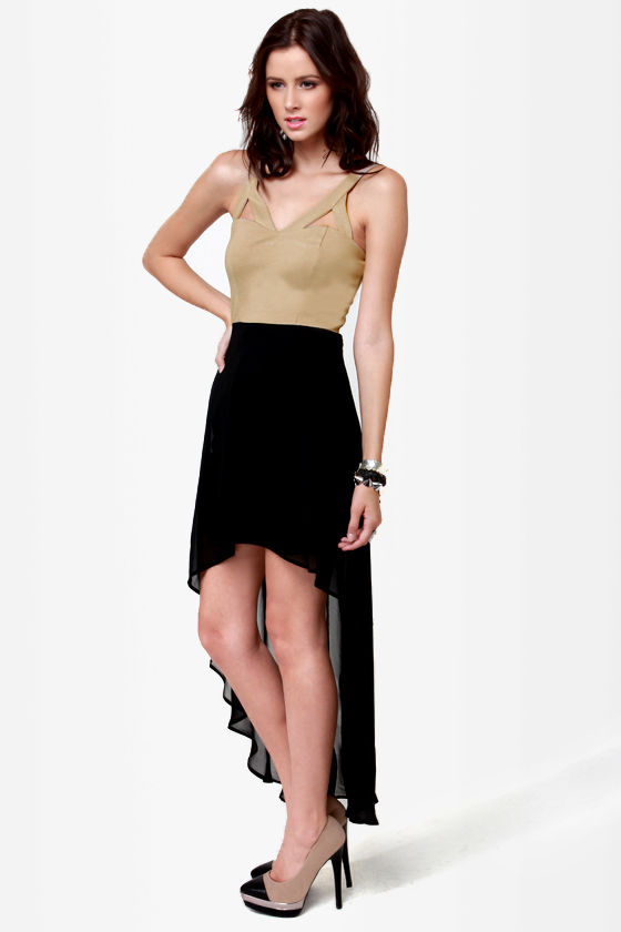 All's Well Black and Beige Dress at Lulus.com!