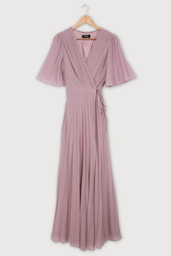 Love Me Every Day Lilac Pleated Wrap Maxi Dress
