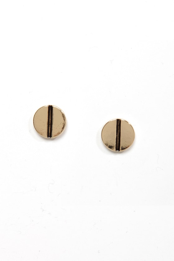 Turn of the Screw Gold Stud Earrings at Lulus.com!