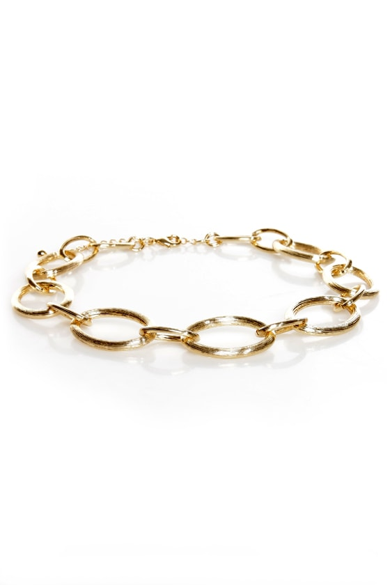Loop Troupe Gold Chain Collar Necklace at Lulus.com!