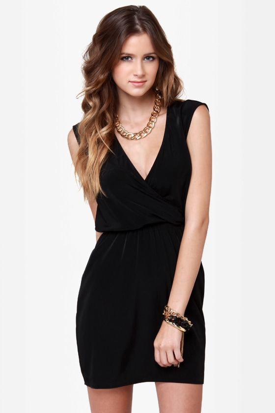Gridding from Here to Here Cutout Black Dress