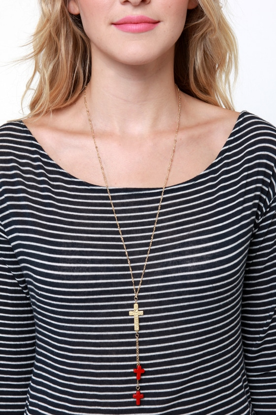 Rosary of Sharon Gold Cross Necklace at Lulus.com!