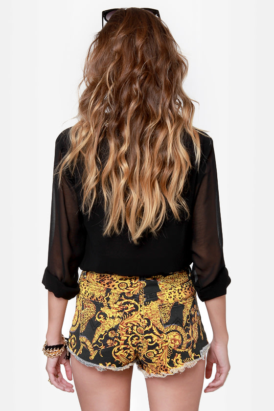 Mink Pink Outrageous Fortune Slashed Baroque Print Jean Shorts at Lulus.com!