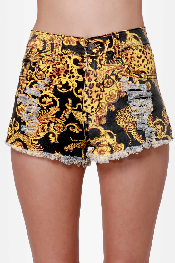 Mink Pink Outrageous Fortune Slashed Baroque Print Jean Shorts