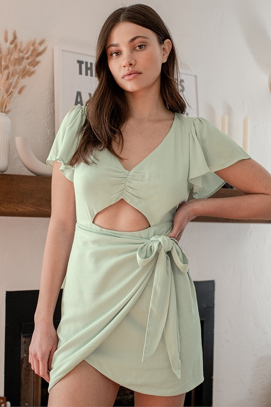 Be a Friend Mint Green Ruffled Cutout Faux Wrap Mini Dress