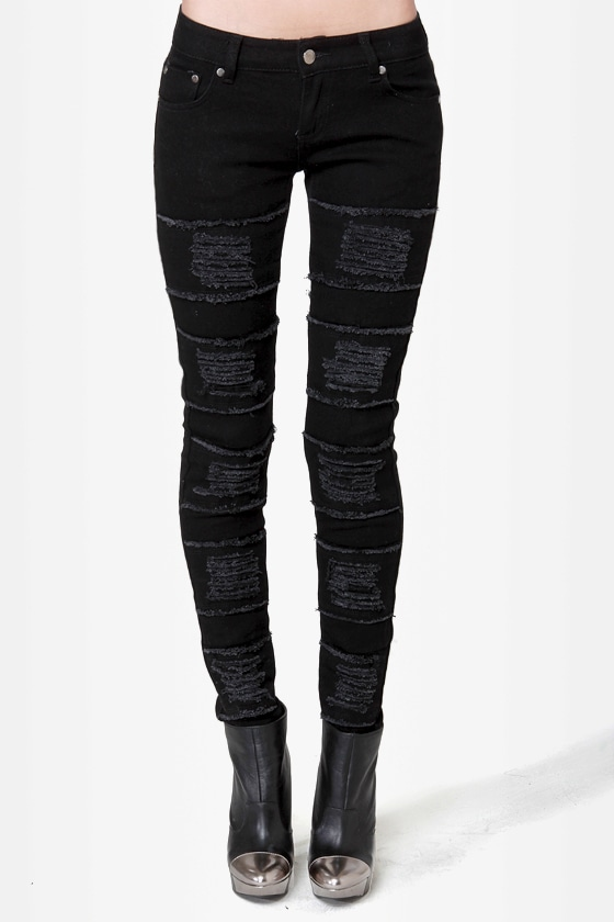 Mink Pink Raptor Slashed Black Skinny Jeans at Lulus.com!