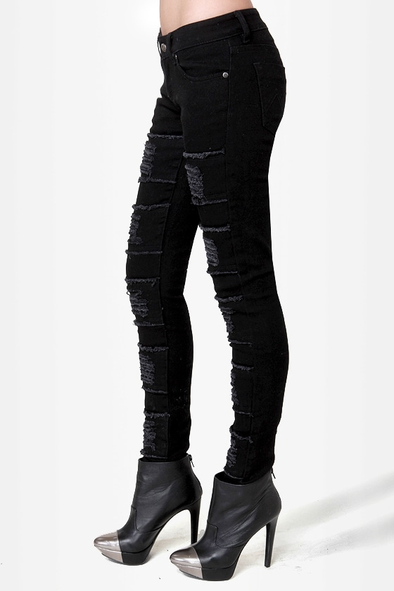 Mink Pink Raptor Slashed Black Skinny Jeans