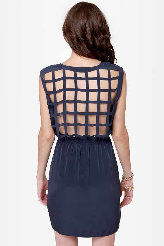 Gridding from Here to Here Cutout Navy Blue Dress
