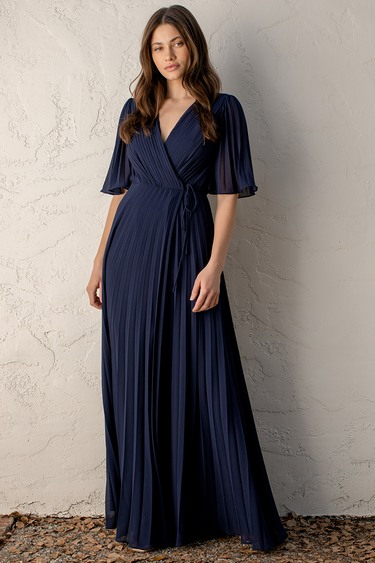 Love Me Every Day Navy Blue Pleated Wrap Maxi Dress