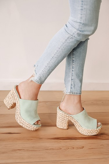 Ervyn Mint Green Suede Raffia Platform Slide Sandals