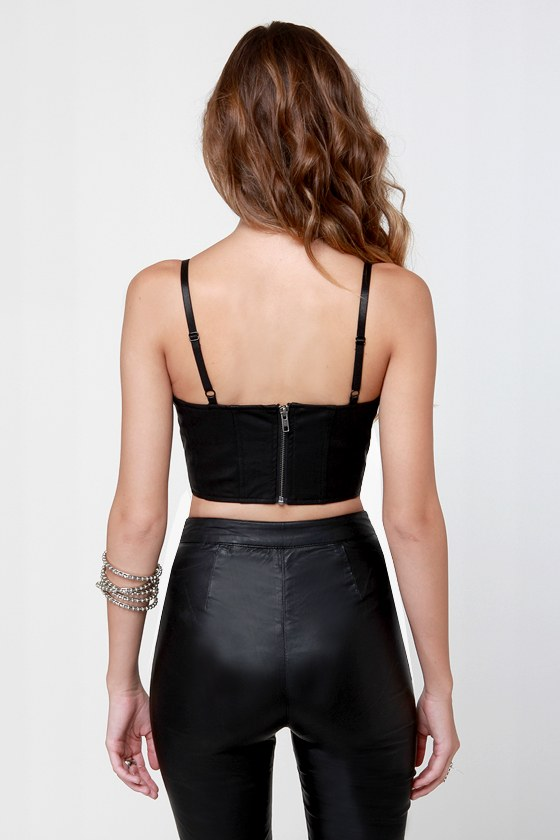 Mink Pink Christie Black Vegan Leather Bustier Top at Lulus.com!
