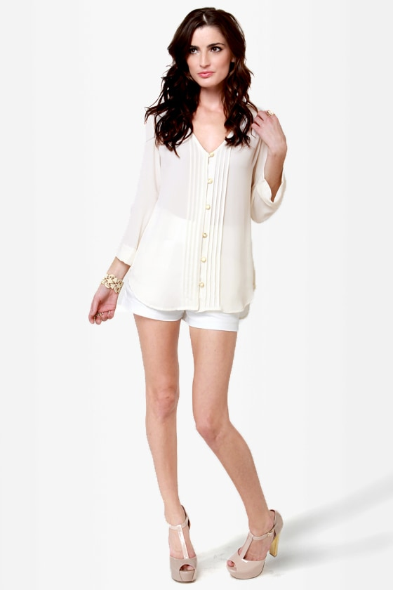 Dreamlover Button-Up Cream Top at Lulus.com!