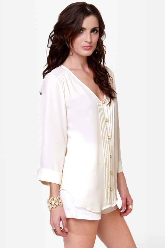 Dreamlover Button-Up Cream Top