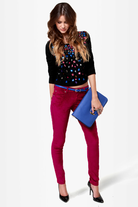 Mink Pink \\\\\\\'Til the Dawn Burgundy Velvet Pants