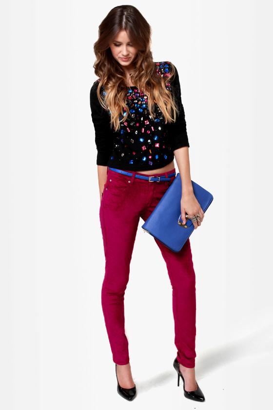 Mink Pink \\\\\\\'Til the Dawn Burgundy Velvet Pants