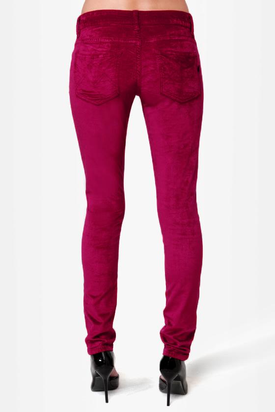 Mink Pink \\\\\\\\\\\\\\\'Til the Dawn Burgundy Velvet Pants