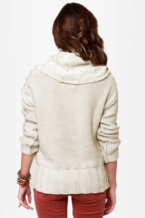 Quiksilver Icicles Off-White Cowl Sweater at Lulus.com!