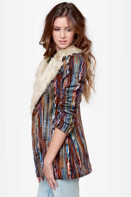 Mink Pink Kooky Multi Yarn Striped Coat