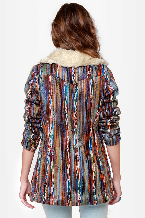 Mink Pink Kooky Multi Yarn Striped Coat at Lulus.com!