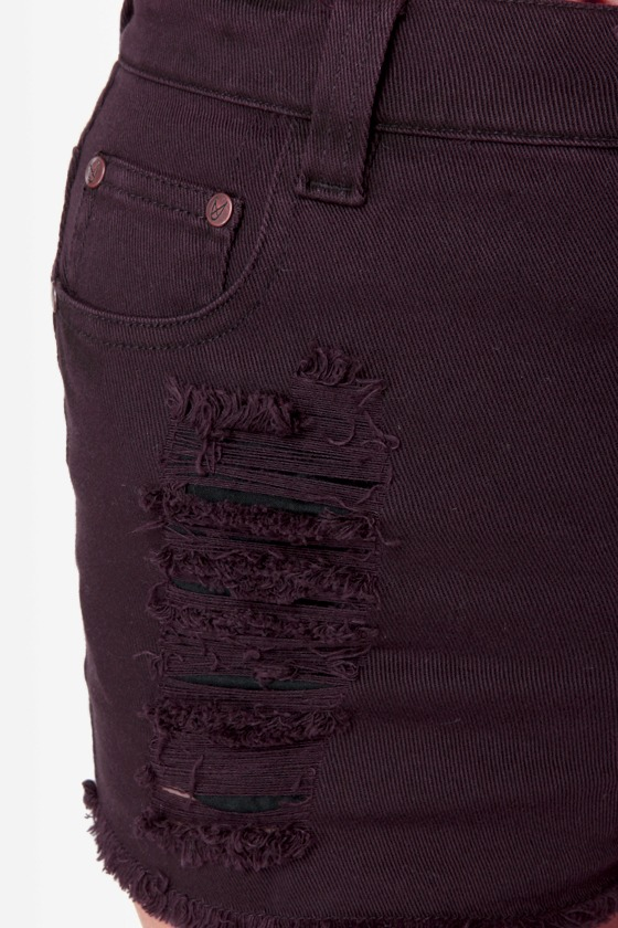 Mink Pink Runaway Phantom Slashed Purple Jean Shorts