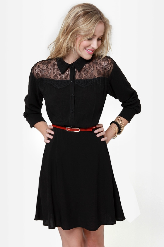 On the Western Front Black Shirt Dress at Lulus.com!