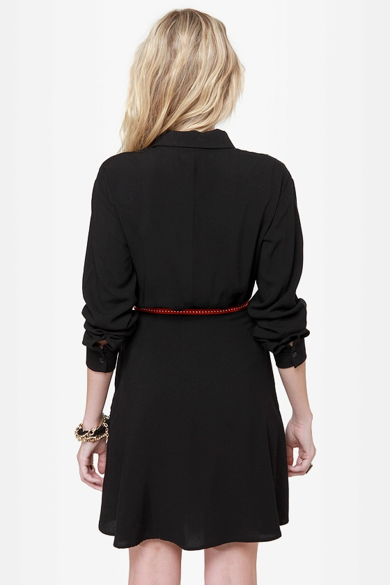 On the Western Front Black Shirt Dress