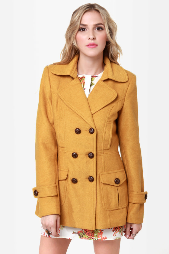 Bundle Me Up Mustard Yellow Coat at Lulus.com!