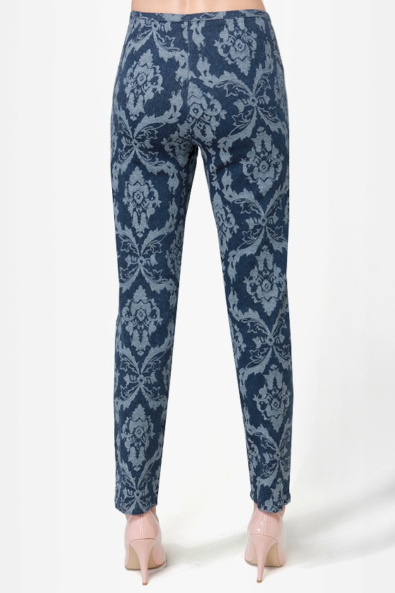 Jacquard-ian Angel Blue Jacquard Pants at Lulus.com!