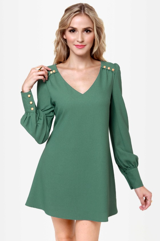 Sherry Baby Sage Green Shift Dress