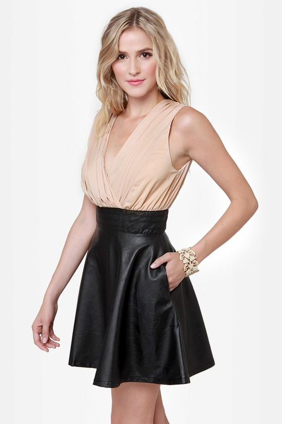 Leather and Lady Black and Beige Vegan Leather Dress