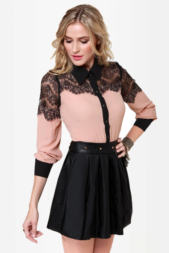 Don\'t Stop Believing Blush Lace Button-Up Top