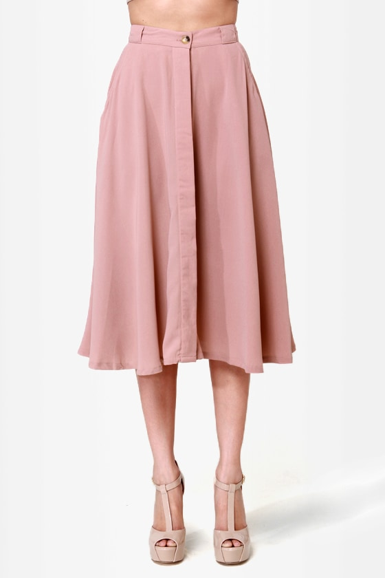 Blushing Barrista Blush Midi Skirt at Lulus.com!