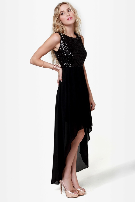 Midnight Magic Black Sequin High-Low Dress