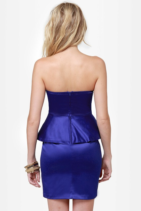 Satin-um Record Strapless Royal Blue Dress
