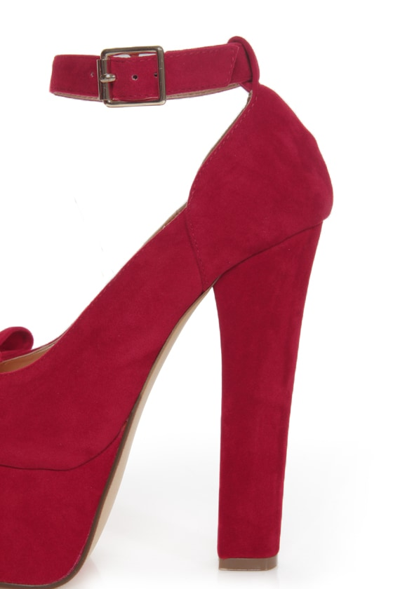 Luichiny Van Essa Red Knotty Bow Peep Toe Platform Heels