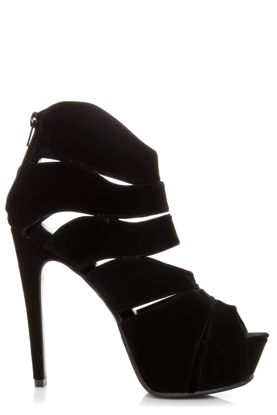 Shelly 4 Black Peep Toe Cutout Booties