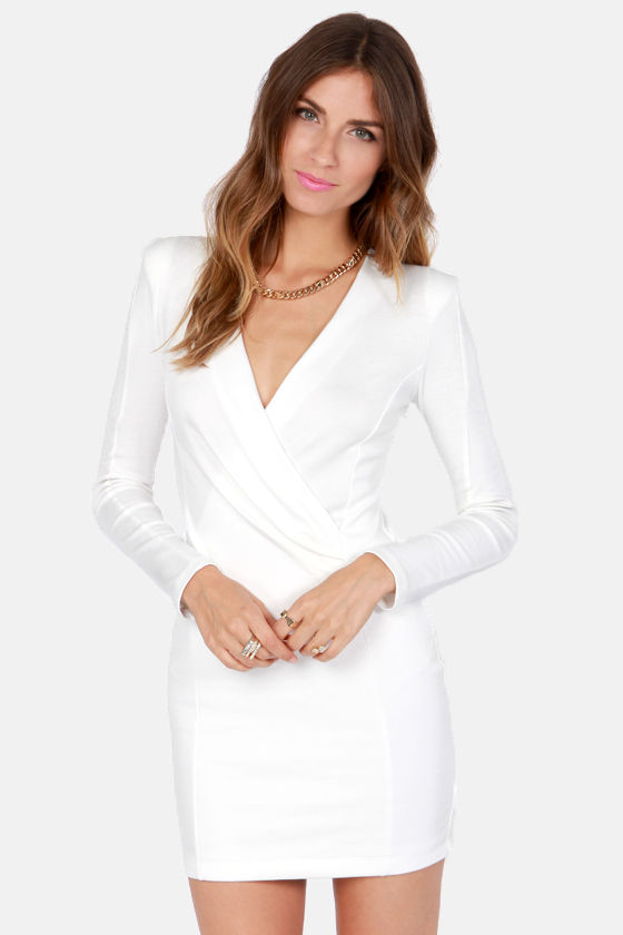 White Long Sleeve Wrap Dresses