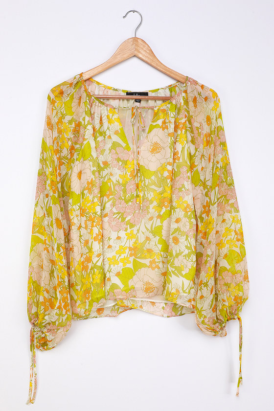 Bloom Service White Multi Floral Print Balloon Sleeve Top