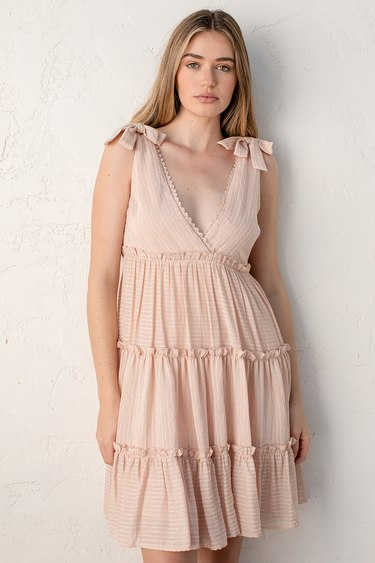 One to Remember Blush Pink Tie-Strap Tiered Babydoll Dress