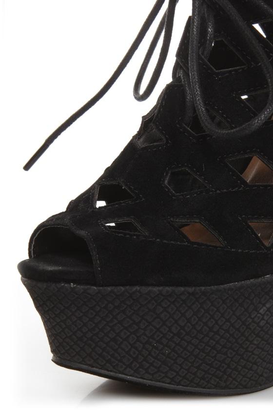 Sanders 27 Black Lace-Up Lattice Cutout Shootie Wedges